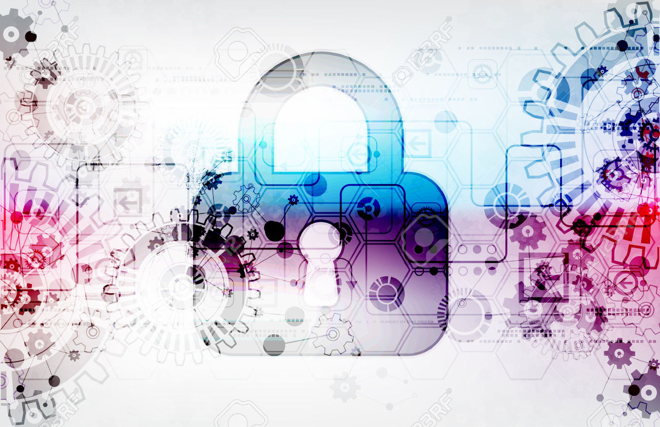 temp-Protection-concept-of-digital-and-technological-Protect-mechanism-gear-and-keyhole-system-privacy-ve-Stock-Vector